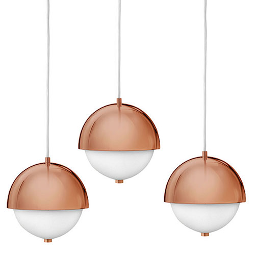 Hinkley: 2-Light Pendant in Deep Rose Gold with Etched Opal Glass Shade.