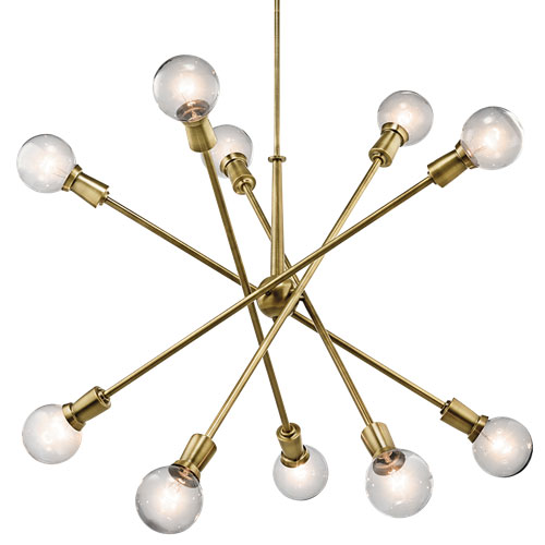 """Kichler: Mid-Century 10-light rectangular chandelier from the Armstrong collection featuring a """"sputnik"""" design with adjustable arms"""